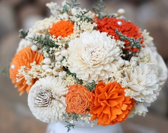 Bridesmaids Bouquet, Fall Wedding Bouquet, Orange,Ivory Bridesmaids Bouquet, Keepsake Bouquet, Rustic Bouquet