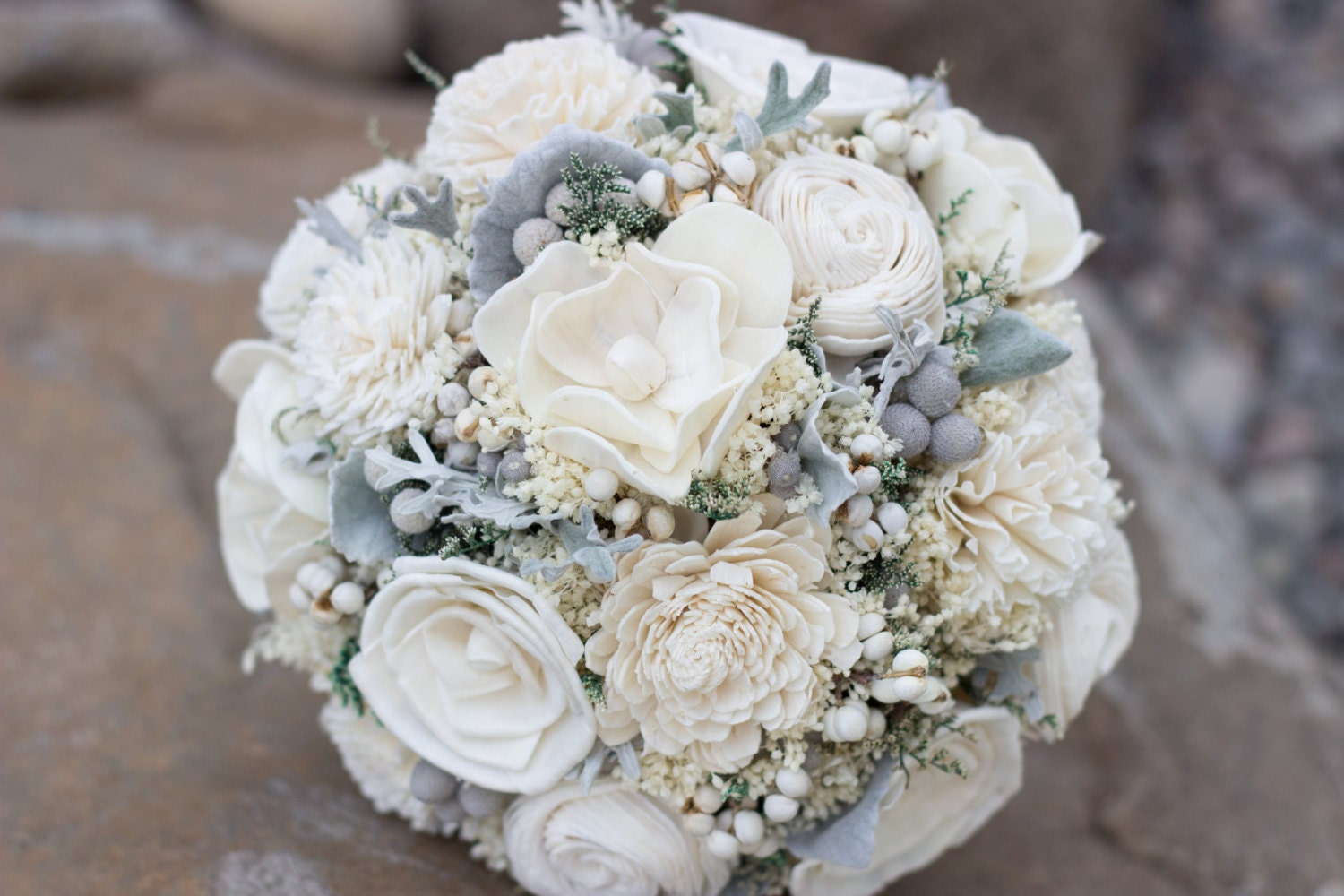 Vintage Wedding Bouquet Ivory Sola Flower Bridal Bouquet