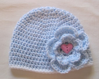 Crochet Baby Girl Flower Hat Blue White Beanie Choice of Buttons