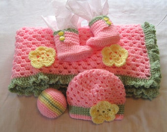Pink Blanket Hat Booties Ball Crochet Baby Girl Flower Afghan Made to Order