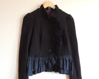 FREE PEOPLE Boho Black Cotton blazer with frill and buttons, size 4