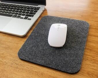 Mouse Pad Wool Felt - Grey Handmade Mousepad