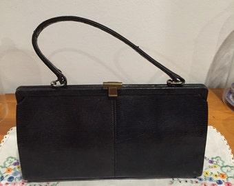 Vintage black lizard skin handbag