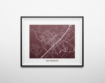 San Marcos, Texas, Texas State University Abstract Street Map Print