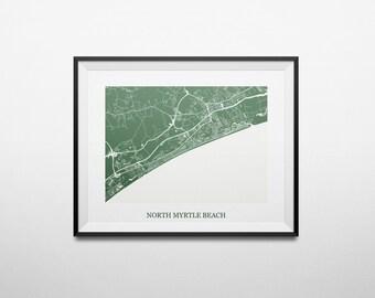 North Myrtle Beach, South Carolina Abstract Street Map Print
