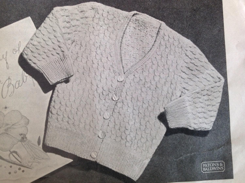 Vintage knitting pattern baby Cardigan