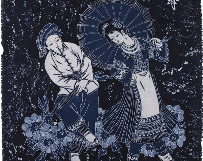 Lusheng Dance - Monochrome Batik Tapestry Decorative Painting 47x36
