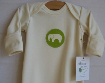 Organic Cotton Baby Sleep Gown - Pyjama, natural, green elephant appliqué, 0-3m, 3-6m, organic baby clothes, baby shower gift
