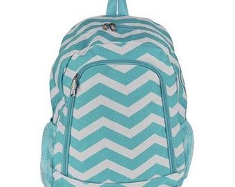 Turquoise/White Chevron Backpack with FREE Monogram