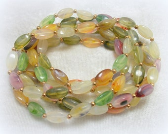 Faux Stone Lucite Bead Necklace or Wrap Bracelet - super long - Vintage 60s Gypsy Boho Jewelry