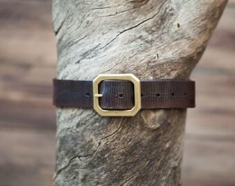 """Children's Belt - Dark Brown Leather Belt with Brass Octagon Buckle (Children's) 1.5"""" width"""