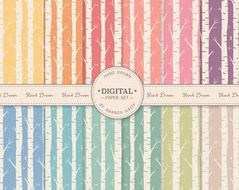 Professional Hand Drawn Vintage Birch Digital Paper Set - Birch Tree Digital Paper, Birch Pattern, Birch Paper, Birch Background