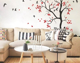Nursery tree wall decal with Flying birds and cute leaves baby room wall mural sticker large tree 053_2