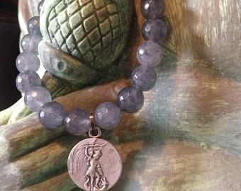 Gray Quartz Crystal~ Healing Stone Bracelet~ Concentration, Memory, Master Healer, All Chakras