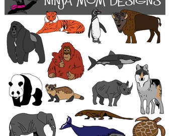 Endangered Species Animal Clip Art in Color and Black and White