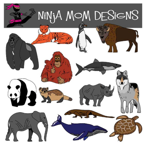 Endangered Species Animal Clip Art in Color and Black and