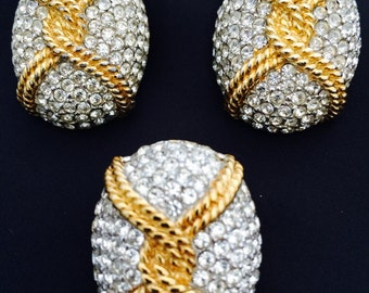 Ciner Pavé Rhinestone Clip Earrings and Scarf Pull Demi Set