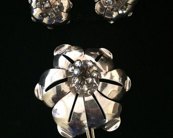 Bridal Sterling Silver Floral Brooch and Earring Set