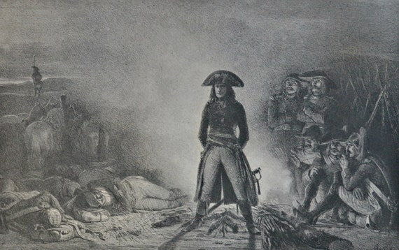 Bonaparte. Antique lithograph. 112 years old print. 11'7 x 8'2 inches.