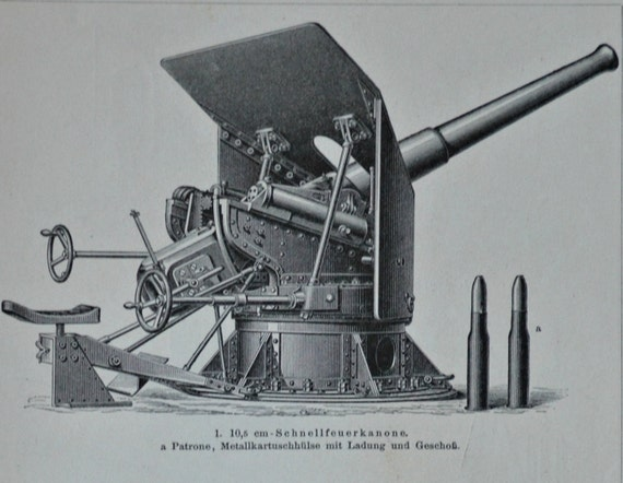Cannons print.  Weapons engraving. 1897. Antique illustration. 118 years lithograph. 9'6 x 6'2 inches.