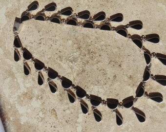 J. Gomes ~ Vintage Substantial Sterling and Onyx Dangle Necklace ~ 108 Grams