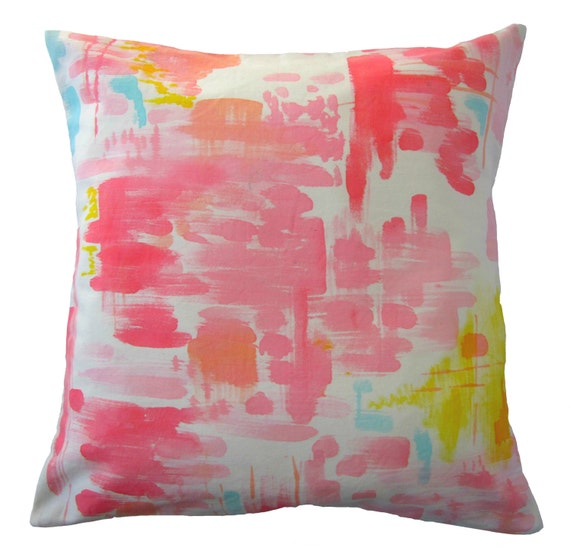 Hand painted abstract watercolor pillow cover