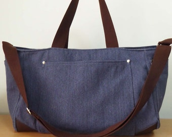 Blue  Shoulder bag/Messenger bag/Diaper bag-Tote bag/Crossbody bag