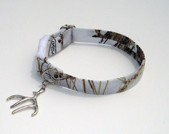 True Timber Snow Camo Collar with Silver Antler Charm