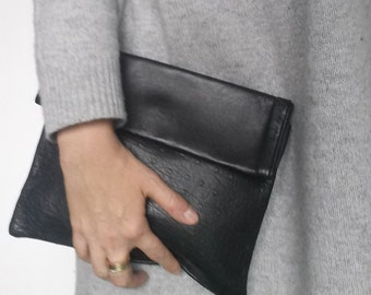 SALE Ostrich leather Clutch