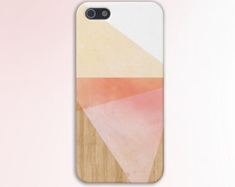 Geometric Pink x Orange Triangles x Yellow Wood Case for iPhone 6 6 Plus iPhone 7  Samsung Galaxy  & s7 and Note 5  S8 Plus Phone Case