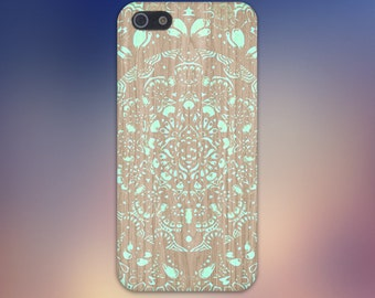 Turquoise Mandala x Lace Wood Design Case for iPhone 6 6 Plus iPhone 7  Samsung Galaxy s8 edge s6 and Note 5  S8 Plus Phone Case