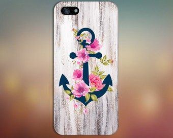 Navy Blue Anchor x Flowers  x Wood Design Case for iPhone 6 6 Plus iPhone 7  Samsung Galaxy s8 edge s6 and Note 5  S8 Plus Phone Case