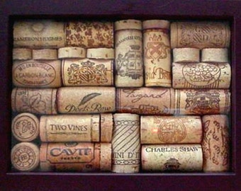 Wine Cork Art • Dark Burgundy Shadowbox Frame • Exclusive Design • Home Decor • Decorative Accent • Crafts by the Sea
