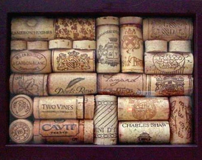 Wine Cork Art • Dark Burgundy Frame • Home Decor • Wall Art • Decorative Accent • Crafts by the Sea