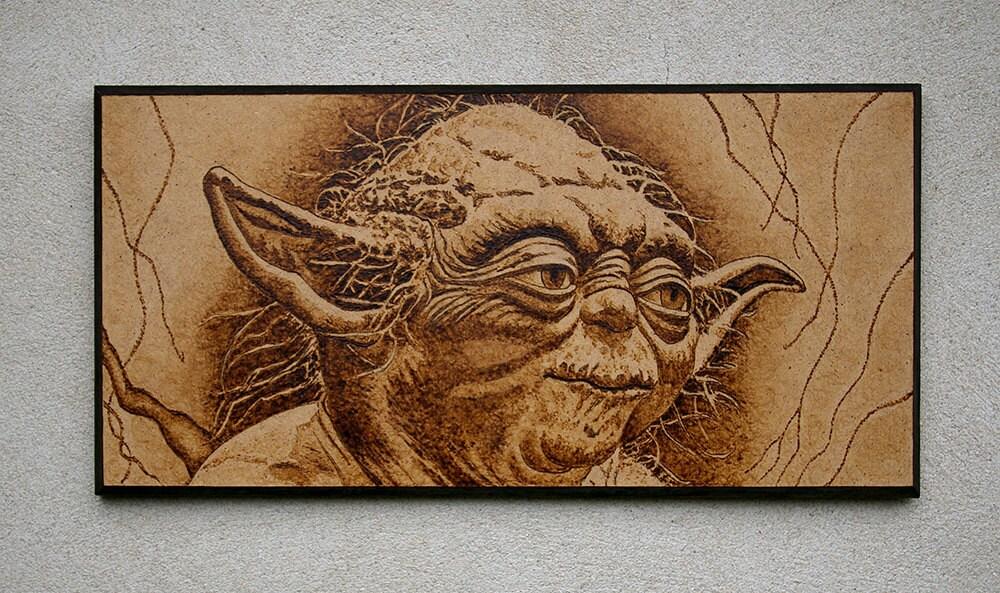 Star Wars Inspired Yoda Pyrography Art