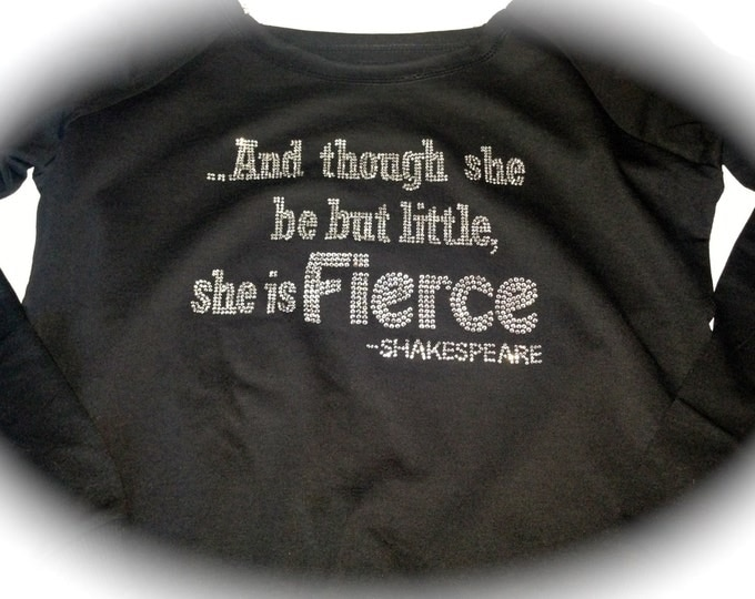 And Though She Be But Little Off The Shoulder Slouchy Workout Shirt, Soft Fitness Sweatshirt, Running shirt, Ladies Gym Shirt, dance shirt