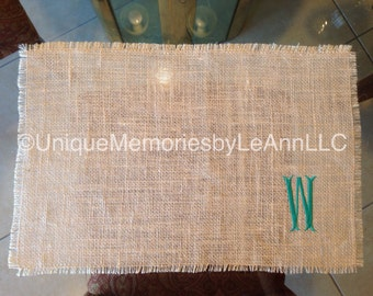 Custom handmade Embroidered Monogrammed Burlap Placemats  -Sets of  2, 4, & 6 available - You choose font and Thread color