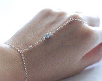 Slave bracelet - hand chain  Sterling Silver tiny cz cubic zirconia diamonds ring chain bracelet