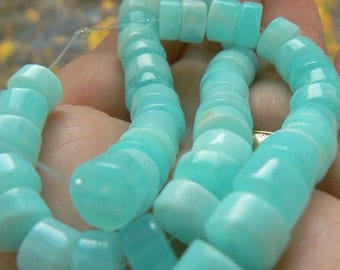 Blue Peruvian opal 7mm  tyre beads. Strand 3-6in- Jewelry beads supply- Semiprecious beads supply. Blue opal gemstone