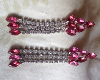 Vintage Pink and White Rhinestone Dangle Post Earrings