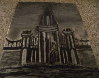 Smoky Black Gothic Castle and Bridge Original Charcoal/Pastel Drawing