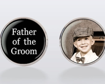 Father of the Groom Cufflinks - Custom Photo Cufflinks, Wedding Picture Cuff Links,vintage, vintage style