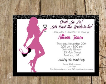 Bridal Lingerie Shower/ Bachelorette Wine Party Invitation, Digital Printable File