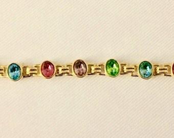 Oval Rhinestone Bracelet- Vintage Multi Color Rhinestone & Gold Tone Bracelet : Wedding, Bridal Jewelry, Mother of the Bride- Signed