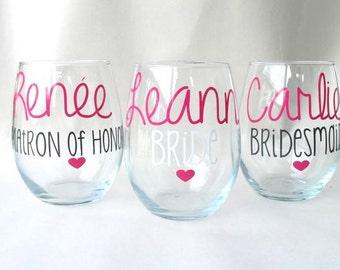 9 Personalized Bridesmaid Glasses - Bridesmaid Glass - Maid of Honor Glass - Bride Wine Glass- Bachelorette Party Glasses