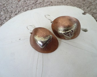 Mixed metal copper/sterling silver dome shaped  dangle earrings