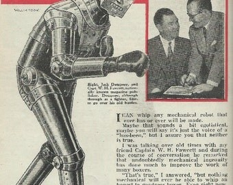 Jack Dempsey vs mecanical robot  magazine article download