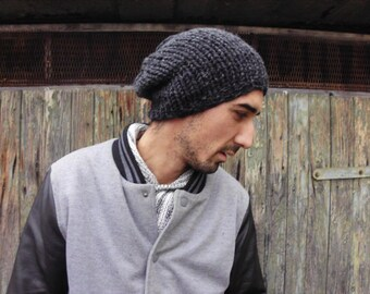 Charcoal Gray Beanie, Men's Knitted Hat, Mens Slouchy Beanie, Anthracite Slouchy Hat,