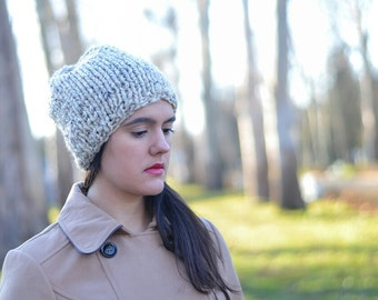 women Beanie, Knitted Hat, Slouchy Beanie, Slouchy Hat,Oatmeal hat