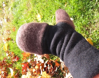 Cashmere double layer convertible mittens made from reclaimed cashmere sweaters